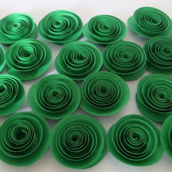 """24 green paper flowers, 1.5"""" rose embellishment set, DIY projects, Bling it with flowers, Loose 3D table scatter confetti bar, table decor"""
