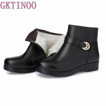 Snow Boots Genuine Leather Women's Shoes Mother Ladies Female Winter Wool Fur Wedges warm boots Plus Size35-43