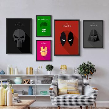 Iron Man Hulk Deadpool Superhero Movie Canvas Posters Wall Art Canvas Prints Minimalist Painting Wall Pictures for Living Room