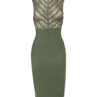 Olive Lara Lace Chevron Cutout Detail Bandage Dress