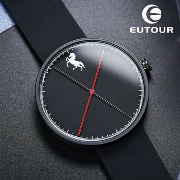 2017 Luxury Brand Eutour Fashion men Horse watch Business male watches silicone Clock Minimalist