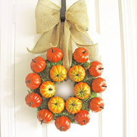 Pumpkin Wreath Thanksgiving Decor Moss Wreath Burlap Bow Fall Decor