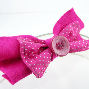 Hair clip bow felt repurposed fabric eco friendly fuchsia hot pink bright polka dot women girls preppy modern curationnation therougett