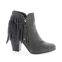 Gail26 Gray F-Suede Cowgirl Back Fringe Zip Up Chunky Stacked Heel Ankle Boots