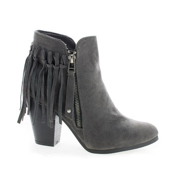 Gail26 Gray F-Suede by Breckelle's, Gray Suede Cowgirl Back Fringe Zip Up Chunky Stacked Heel Ankle Boots