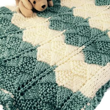 Caron Simply Soft Knitting Patterns : Baby Blanket Striped in Aqua Cream Lace from indiemade.com Jazz