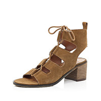 Light brown ghillie lace up sandals - heeled sandals - shoes / boots - women