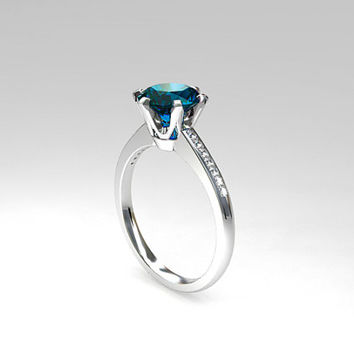1.50ct London Blue topaz ring, Diamond, white gold, engagement ring, solitaire, Topaz engagement, London blue, teal engagement, wedding