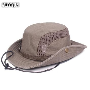 SILOQIN Summer 100% Cotton Ventilation Bucket Hats For Men Wind Rope Fixed Men's Retro Fashion Breathable Beach Hat Dad's Hat