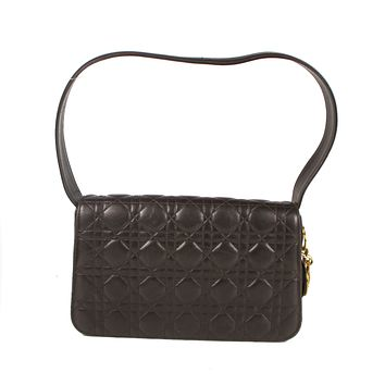 Christian Dior Brown Quilted Leather Cannage Shoulder Flap Bag