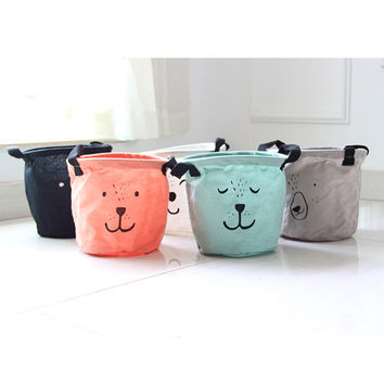 New Cartoon Face Linen Desk Storage Box