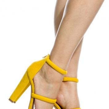 Yellow Faux Suede Triple Strap Chunky Heels @ Cicihot Heel Shoes online store sales:Stiletto Heel Shoes,High Heel Pumps,Womens High Heel Shoes,Prom Shoes,Summer Shoes,Spring Shoes,Spool Heel,Womens Dress Shoes