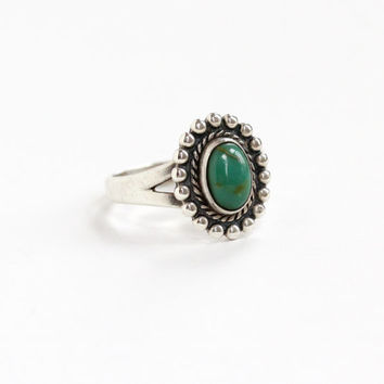 Vintage Sterling Silver Turquoise Ring - Retro Mid Century Size 7 1/2 Hallmarked Bell Trading Co Southwestern Native American Style Jewelry