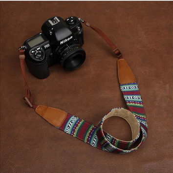 Blue Strap Sony  Handmade Leather Camera Strap Bohemia Style Holiday-7226
