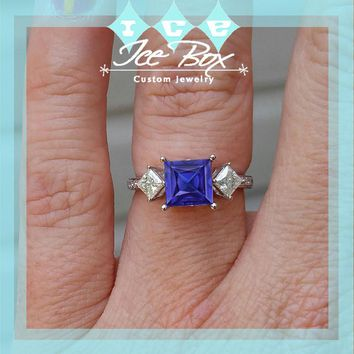 Cultured Blue Sapphire Engagement Ring
