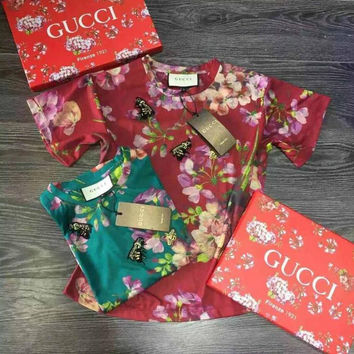 GUCCI Fashion Flower Print Short Sleeve Tunic Shirt Top