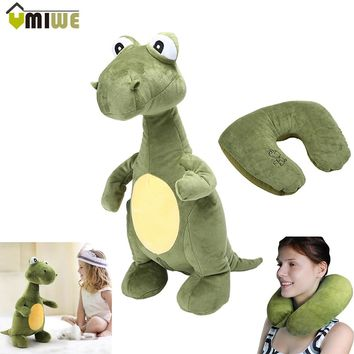 Creative Lovely Animal Dinosaur U-pillow Travel Pillow Convertible 2-in-1 Adorable Companion U-Shaped Children Kids Toys Pillow