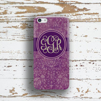 Personalized Iphone 6 case, Purple Iphone 5c case, Floral Iphone 5s case, Pretty Iphone 6s case, Fall fashion accessory, Damask (9902)