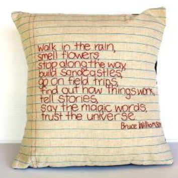 Poem Stitching embroidery cushion pillow cover by mybeardedpigeon
