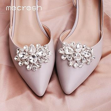 Mecresh Designer 2pcs/lot Round Teardrop Flower Shape Crystal Wedding Prom Shoe Buckles Silver Color Flower Bridal High Heels Clips for Women FREE SHIPPING