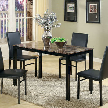 Black Dining Set with Marbella Table Top   Aiden 5 Piece Dinette Set   American Freight