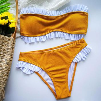 Women's Summer Bikinis Set Solid Color Sexy Two Piece High Cut Swimsuit Ruffle Patckwork High Waist Beach Swimwear Bathing Suit