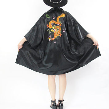 Japanese Embroidered Kimono Asian Robe Vintage Kimono Silky Black Satin Robe Dragon Kimono Slouchy Belted Robe Short Sleeve Robe (M/L/XL)