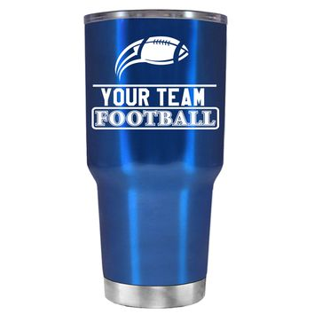 TREK Personalized Football Team on Translucent Blue 30 oz Tumbler Cup
