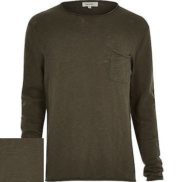 River Island MensKhaki green marl pocket sweater