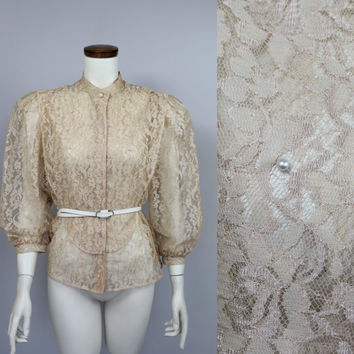 SALE - 70s/80s - Victorian Style - Antique Cream - See Through - Floral Lace - Pearl Beaded - Puffy Sleeves - Button Up - Blouse - I Magnin