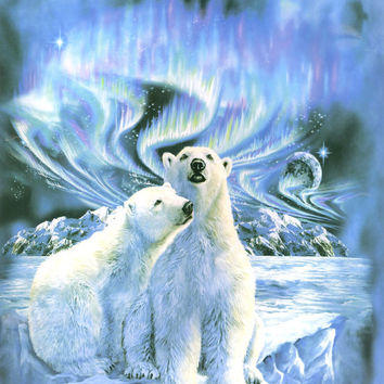 Polar Bear Northern Lights Signature Queen Blanket - Free Shipping in the Continental US!