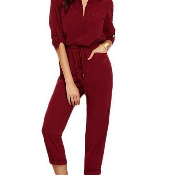 Fall Ladies Burgundy Lapel Tie Waist Dual Pockets Rolled Sleeve Buttons Front Office Jumpsuit