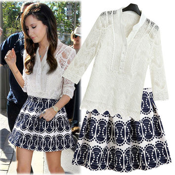 White Lace Button Sleeve Blouse With Pattern Pleated Skirt