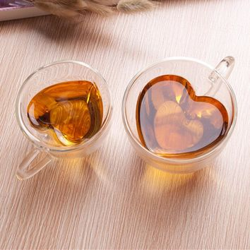 180ml/240ml Heart Shaped Double Wall Layer Transparent Glass Tea Cup Coffee Mug Gift