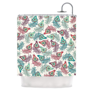 "Pom Graphic Design ""Peacock Feathers"" Multicolor Pattern Shower Curtain"