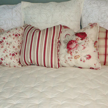 "Waverly Norfolk Rose Pillow 17"" Square Cottage Floral Vintage Look Red Pink Ivory  Insert Included Ready Ship"