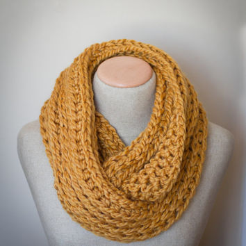 Super Chunky Mustard Infinity Scarf,  Goldrenrod Infinity Scarf,  curry yellow, circle scarf, unisex scarf, Womens Scarf
