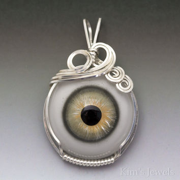 Green/Yellow Glass Eye Eyeball Sterling Silver Wire Wrapped Pendant