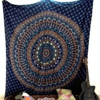 Blue Large Camel Indian Mandala Tapestry Wall Hanging Dorm Decor Elephant Bedsheet