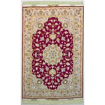 Oriental Tabriz Elegance Natural Wool and Silk Persian Rug, Red and Beige Rug, 3' x 5' Rug
