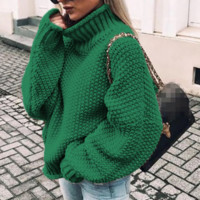 Casual loose long-sleeved sweater top solid color high collar female sweater factory