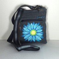 DaKine Women's Messenger Bag with Hand Painted Blue Daisy