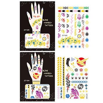 Wrapables Trendy Temporary Metallic Hand Tattoos, Floral and Eagle