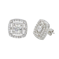 Halo Stud Earrings Sterling Silver Cubic Zirconia Double Micropave Frame 12mm