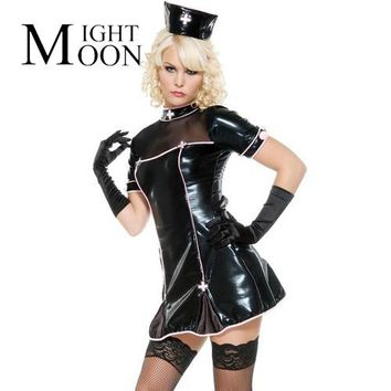 MOONIGHT Nurse Costume Black PU Leather Nurse Uniform Exotic Apparel Cosplay Dress Sexy Halloween Costumes For Women