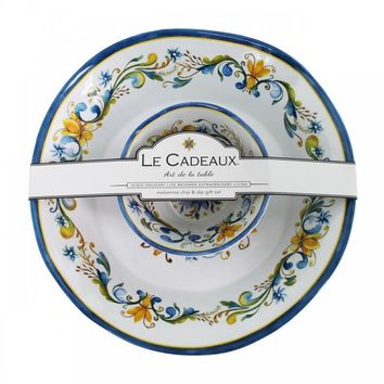 Le Cadeaux Floral Harvest Chip and Dip 2 Bowl Set