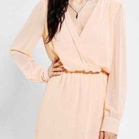 Coincidence & Chance Chiffon Surplice Dress- Peach S