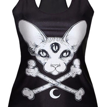 Black Three Eyed Cat Tank Top Design 13089