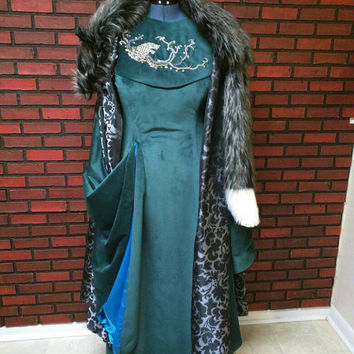 Sansa Stark season 6 inspired teal velvet dress with embroidered collar and faux fur cloak,  direwolf beaded embroidery, custom options