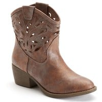 SO Women's Cutout Western Ankle Boots (Brown)